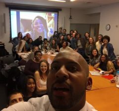 Alicia Garza (on skype) with students in NYU's Black Lives Matter Syllabus